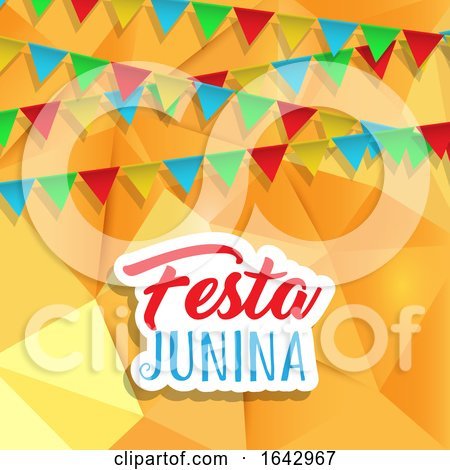 Festa Junina Background with Banners on Low Poly Design by KJ Pargeter
