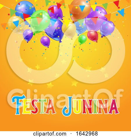 Festa Junina Background with Balloons, Confetti and Banners by KJ Pargeter