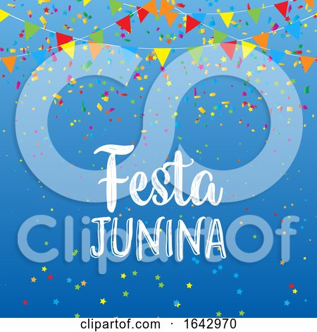 Festa Junina Background with Banners and Confetti by KJ Pargeter