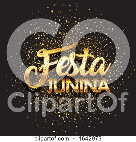 Festa Junina Background with Gold Glitter Confetti by KJ Pargeter
