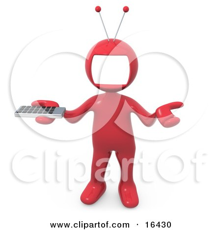 Shrugging And Holding A Television Remote Control Clipart