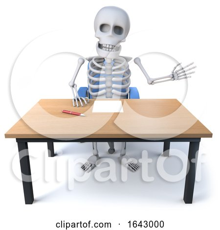 3d Skeleton Waves from His Desk by Steve Young