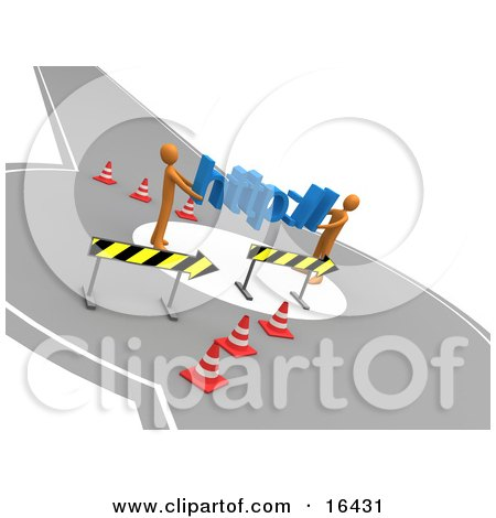 Two Orange People Carrying http:// Through A Construction Zone, Symbolizing A Redirect Or Detour Clipart Illustration Graphic by 3poD