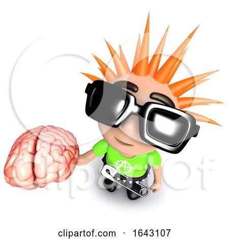 3d Funny Cartoon Punk Rocker Kid Character Holding a Human Brain by Steve Young