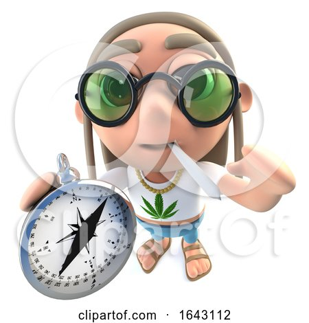 3d Funny Cartoon Hippy Stoner Character Holding a Compass by Steve Young