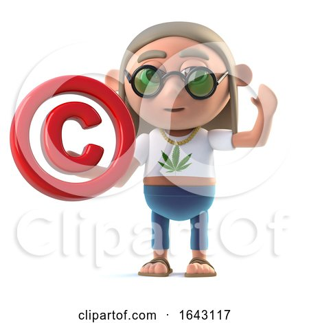 3d Hippie Stoner Has a Copyright Symbol by Steve Young