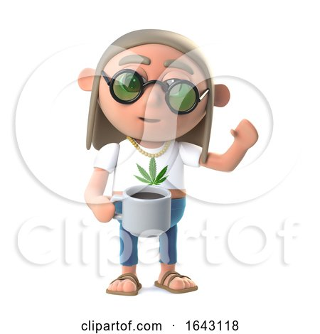 3d Hippie Stoner Has a Nice Cup of Coffee by Steve Young