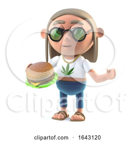 3d Hippy Stoner Eating a Burger by Steve Young