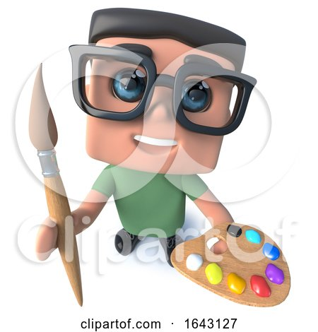 3d Funny Cartoon Nerd Geek Hacker Character Holding a Paintbrush and Palette by Steve Young