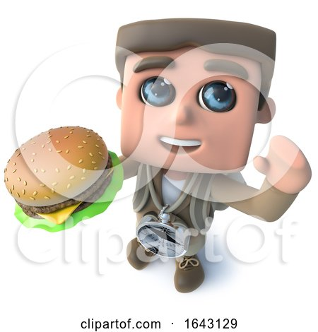 3d Funny Cartoon Explorer Adventurer Holding a Tasty Cheese Burger by Steve Young