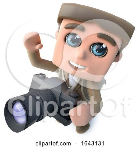 3d Funny Cartoon Hiker Adventurer Character Taking a Photo with a Camera by Steve Young