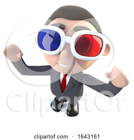 3d Funny Cartoon Executive Businessman Character Watching a 3d Movie by Steve Young