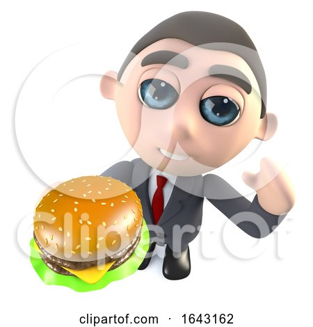 Funny Cartoon 3d Businessman Character Holding a Cheese Burger Snack by Steve Young