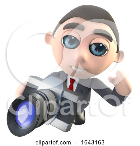 3d Funny Cartoon Executive Businessman Character Taking a Photo with a Camera by Steve Young
