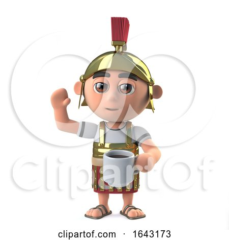 3d Roman Soldier Waves While Drinking a Cup of Coffee by Steve Young
