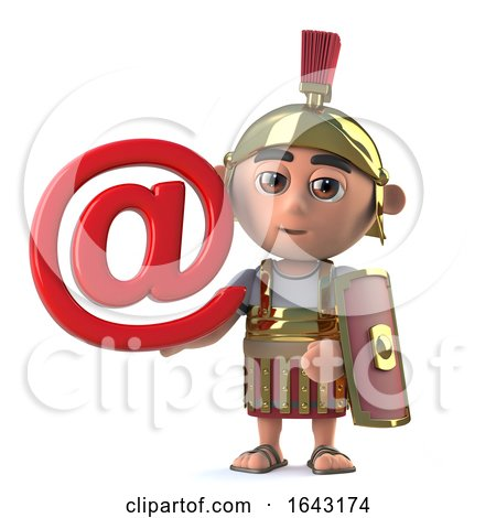 3d Roman Centurion Has an Internet Email Address Symbol by Steve Young