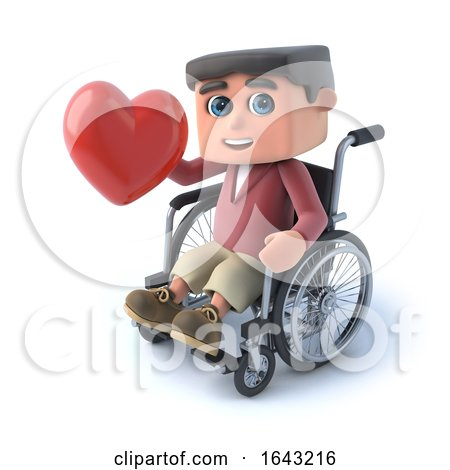 3d Boy in Wheelchair Has a Heart by Steve Young