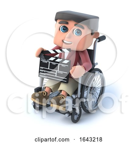 3d Boy in Wheelchair Holding a Clapperboard by Steve Young