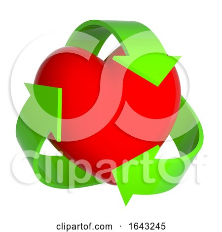 3d Heart with Recycle Symbol by Steve Young