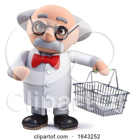3d Scientist Character Holding a Shopping Basket by Steve Young