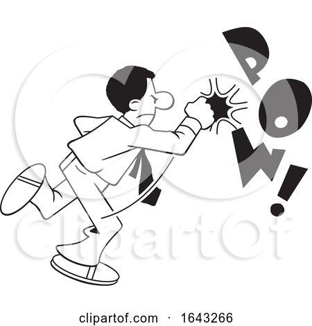 Cartoon Lineart Black Business Man Fighting Back with POW Text by Johnny Sajem