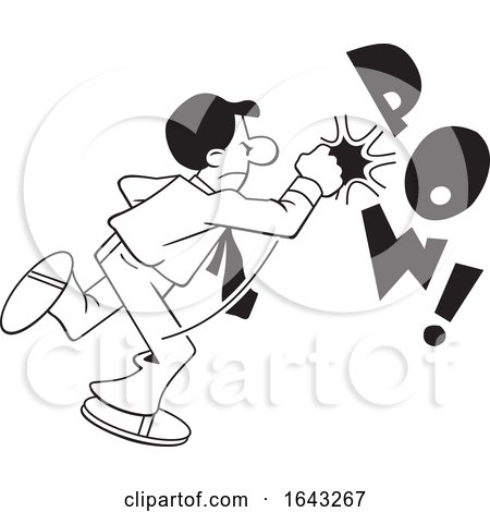 Cartoon Black and White Business Man Fighting Back with POW Text by Johnny Sajem