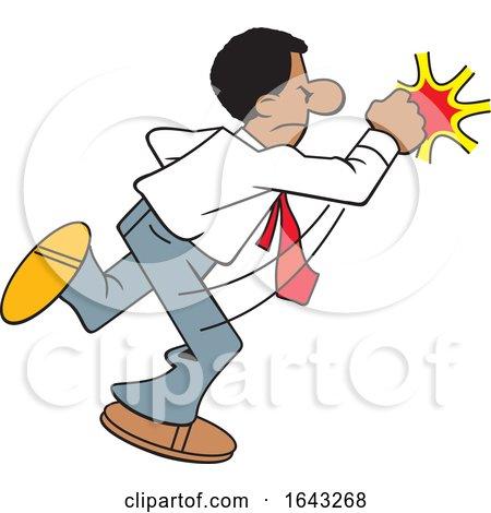 Cartoon Black Business Man Fighting Back by Johnny Sajem