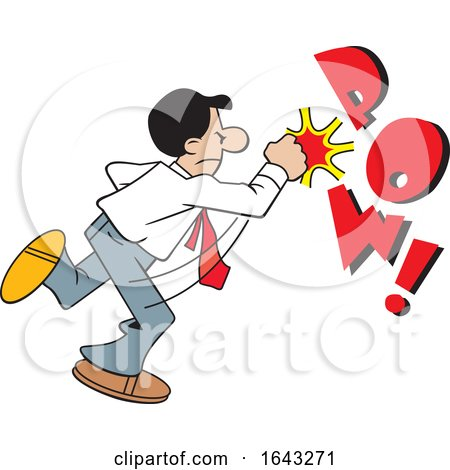 Cartoon Hispanic Business Man Fighting Back with POW Text by Johnny Sajem