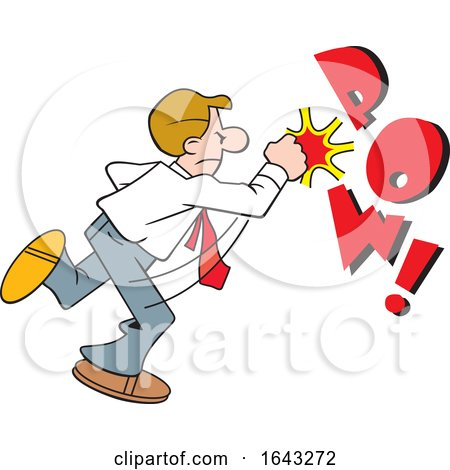 Cartoon White Business Man Fighting Back with POW Text by Johnny Sajem