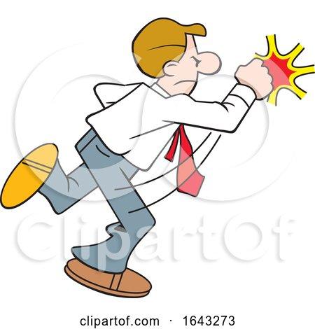 Cartoon White Business Man Fighting Back by Johnny Sajem