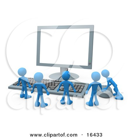 Group Of Tiny Blue Employees Standing In Front Of A Computer Keyboard And Looking Up At A Flat Screen Lcd Monitor Screen While One Person Operates The Mouse  Posters, Art Prints