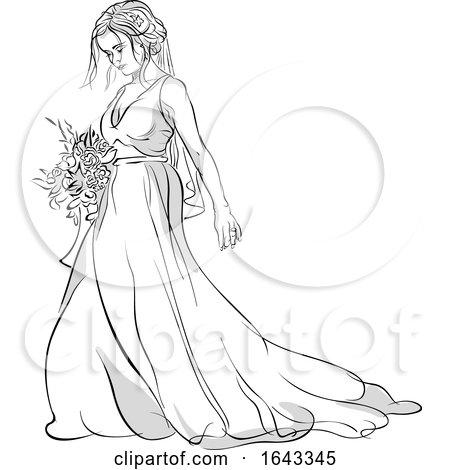 Sketched Bride Holding a Boquet by dero