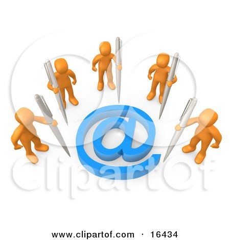 Five Orange People Holding Large Pens, Surrounding A Blue At Symbol Clipart Illustration Graphic by 3poD