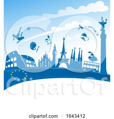 Travel Landmarks over a European Flag Ribbon by Domenico Condello