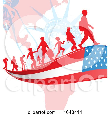 Silhouetted Immigrants on an American Flag Ribbon over the Statue of Liberty by Domenico Condello