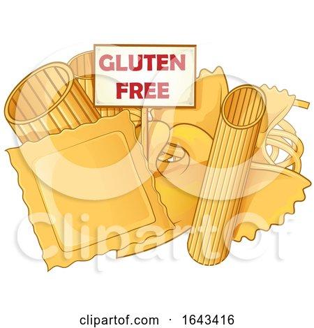 Cartoon Pasta with a Gluten Free Sign by Domenico Condello