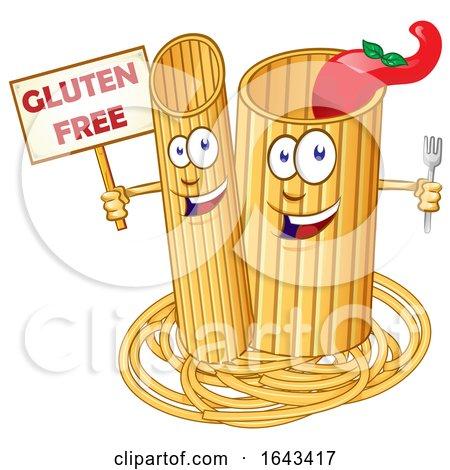 Cartoon Pasta Noodle Mascots with a Gluten Free Sign by Domenico Condello