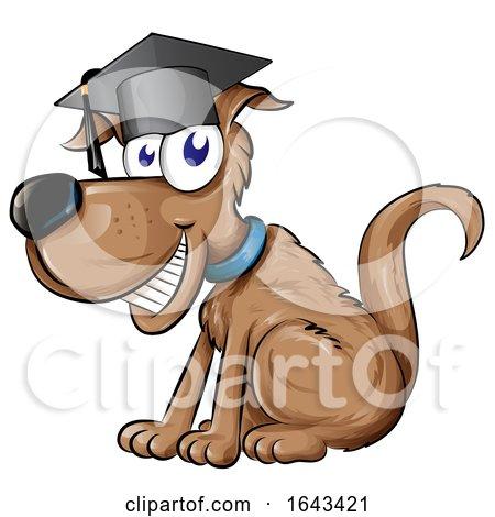 Cartoon Happy Dog Graduate by Domenico Condello