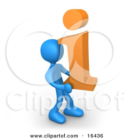 Blue Person Carrying an Orange i For Information Clipart Illustration Graphic by 3poD
