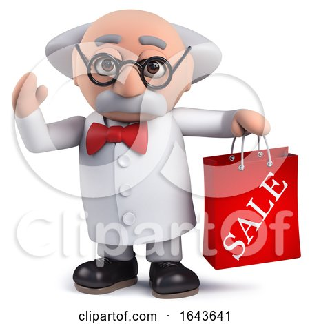 3d Scientist Character Holding a Sale Bag by Steve Young