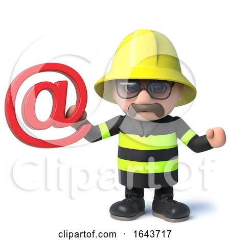 3d Fire Fighter Emergency Services Character Holding an Email Address Symbol by Steve Young