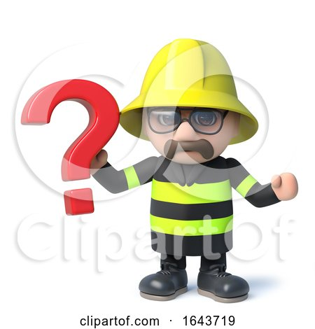 3d Funny Cartoon Fireman Character Holding a Question Mark by Steve Young