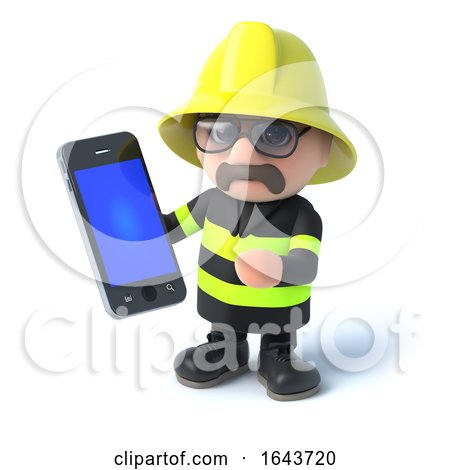 3d Firefighter Has a Smartphone by Steve Young