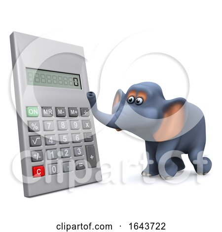 3d Elephant Using a Digital Calculator by Steve Young