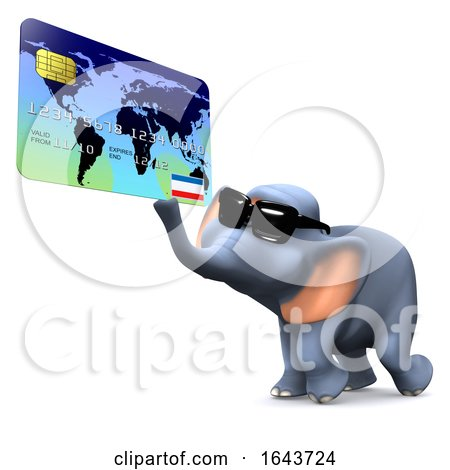 3d Elephant Using a Credit or Debit Card by Steve Young
