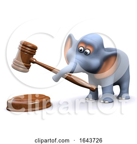3d Elephant Using an Auctioneers Gavel by Steve Young