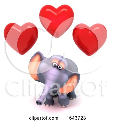 3d Elephant Surrounded by Romantic Love Hearts of Affection by Steve Young