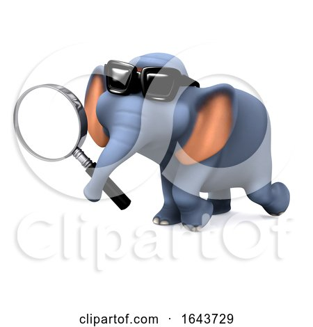 3d Elephant Searching by Steve Young