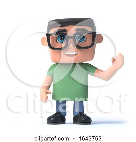 3d Boy Wearing Glasses Waves Hello by Steve Young