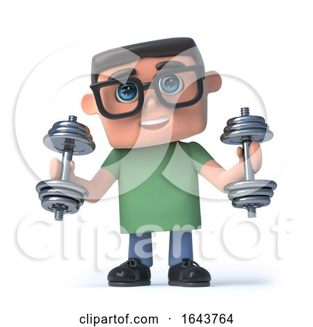 3d Boy in Glasses Exercises with Weights by Steve Young